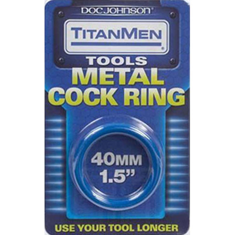 "TitanMen Metal Cockring 1.5"" 40 Mm Blue - View #2"