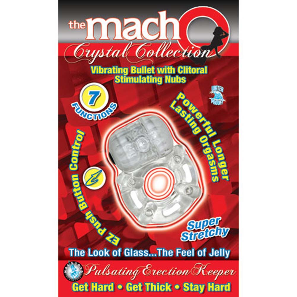 Macho Crystal Collection Pulsating Erection Keeper Cockring Clear - View #3