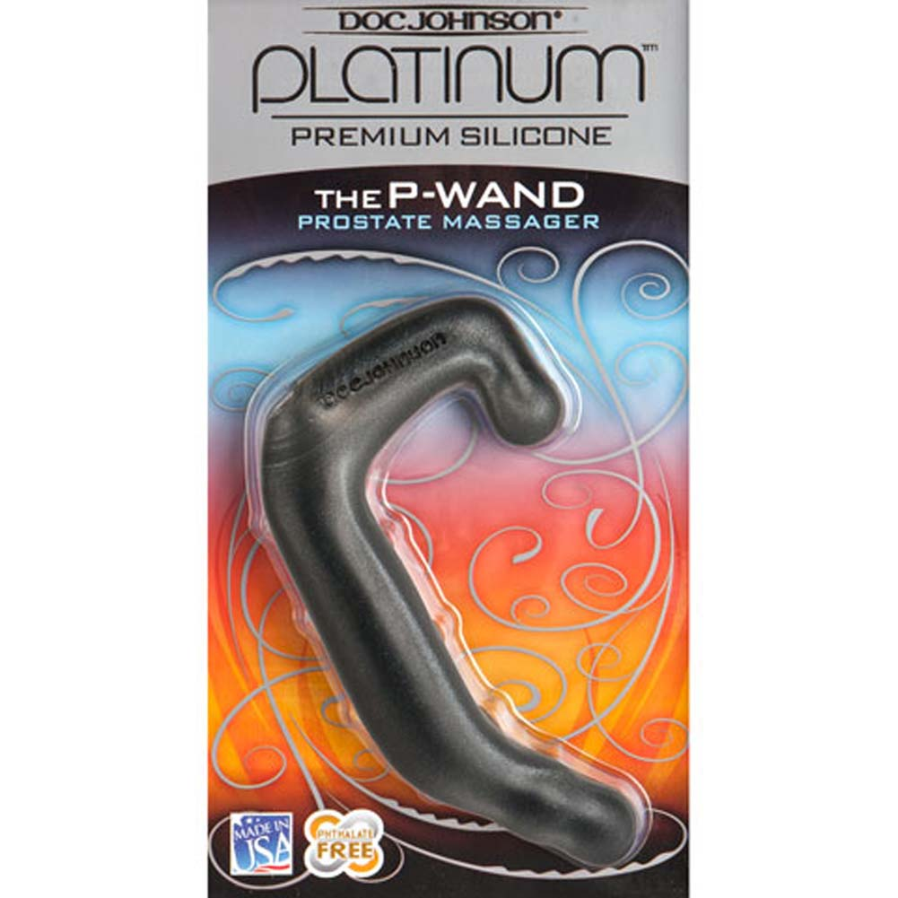 "Platinum Silicone P Wand Prostate Massager 5.5"" Charcoal - View #2"