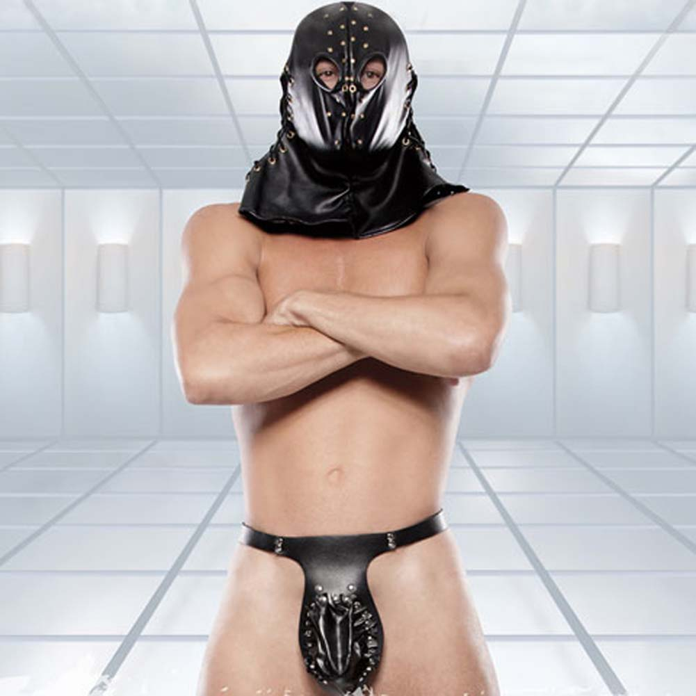 Fetish Fantasy Extreme Executioner Hood and Jockstrap Black - View #1