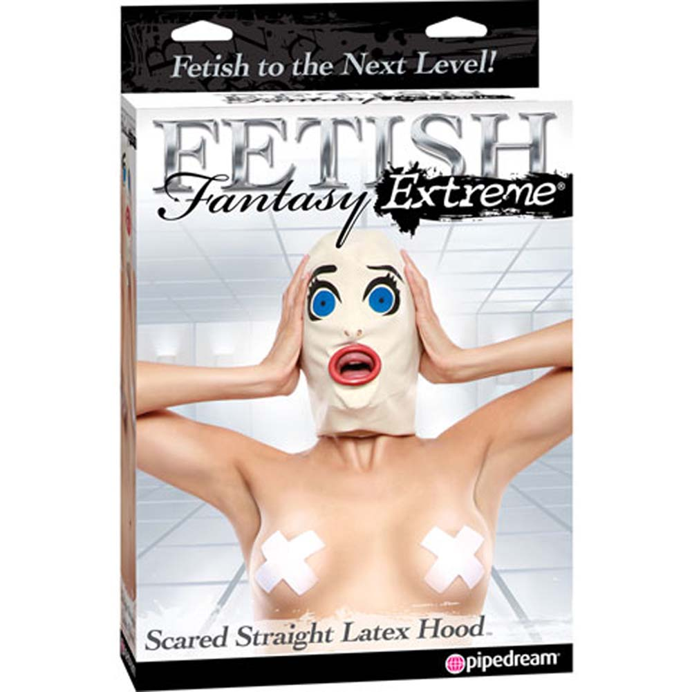Fetish Fantasy Extreme Scared Straight Latex Hood White - View #4