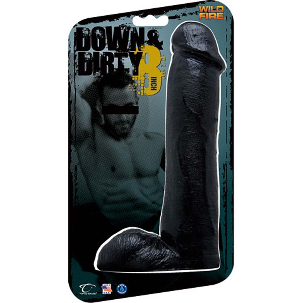 "Down and Dirty Realistic Waterproof Dong 8"" Ebony - View #1"