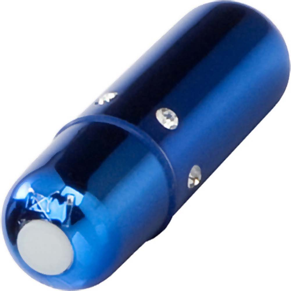 "California Exotics Crystal High Intensity Waterproof Mini Bullet 2.25"" Blue - View #2"