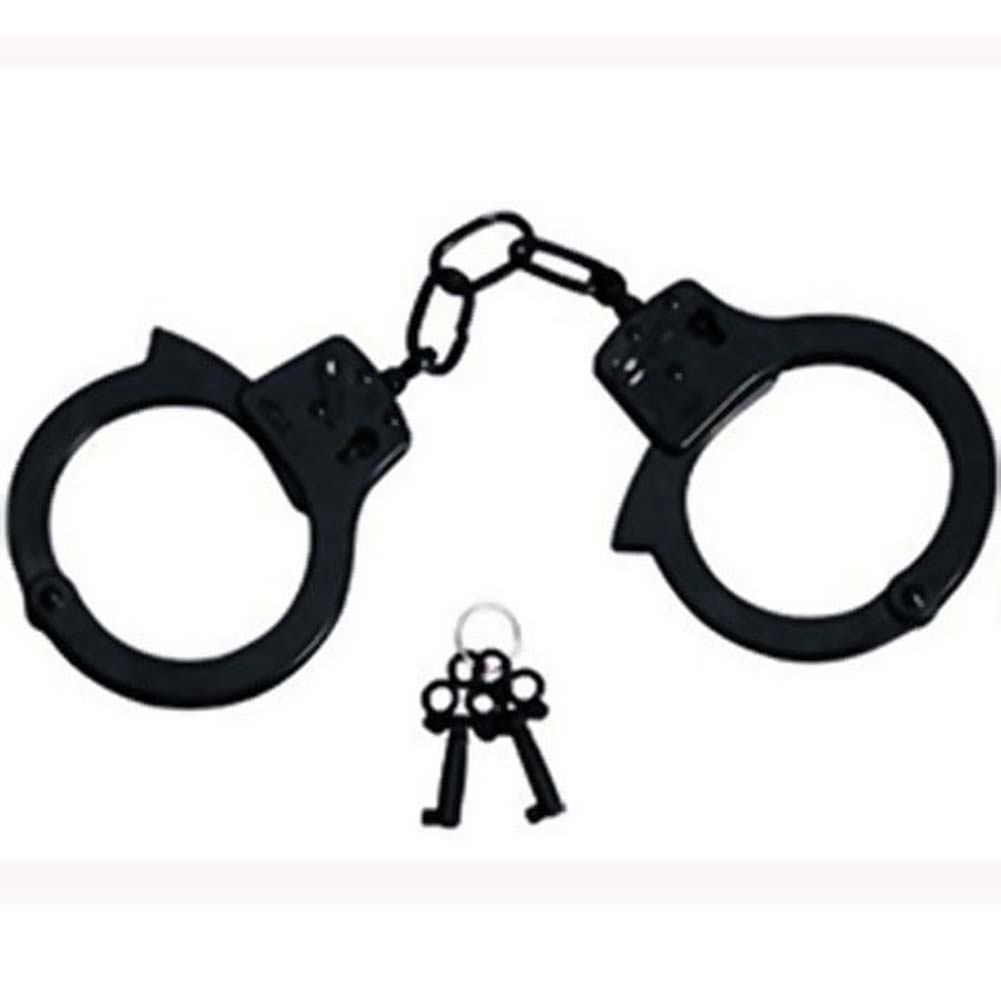 Double Lock Police Style Handcuffs Black - View #1