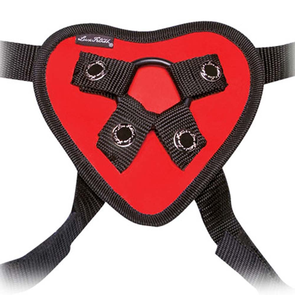 Lux Fetish Red Heart Strap-On Harness. - View #2