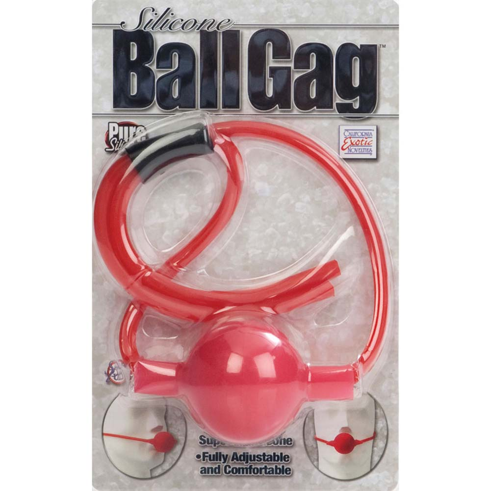 "California Exotics Silicone Ball Gag 1.75"" Red - View #4"