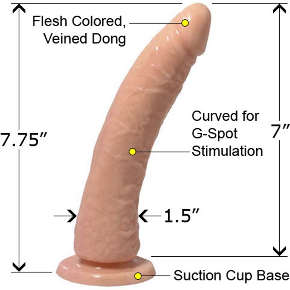 "Basix Rubber Works Slim G-Spot Dong 7"" Natural RBdV - View #2"