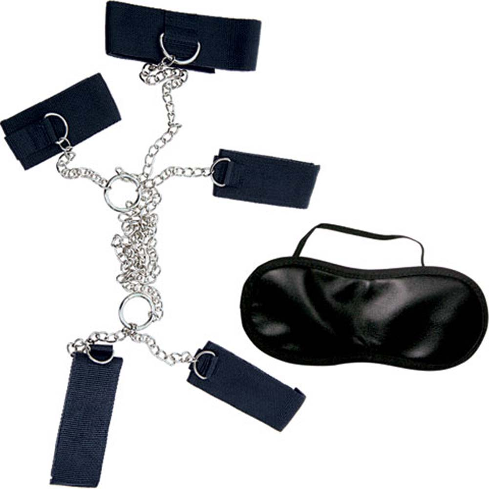 Dominant Submissive Collection 4 Cuffs and Collar Set Black - View #3