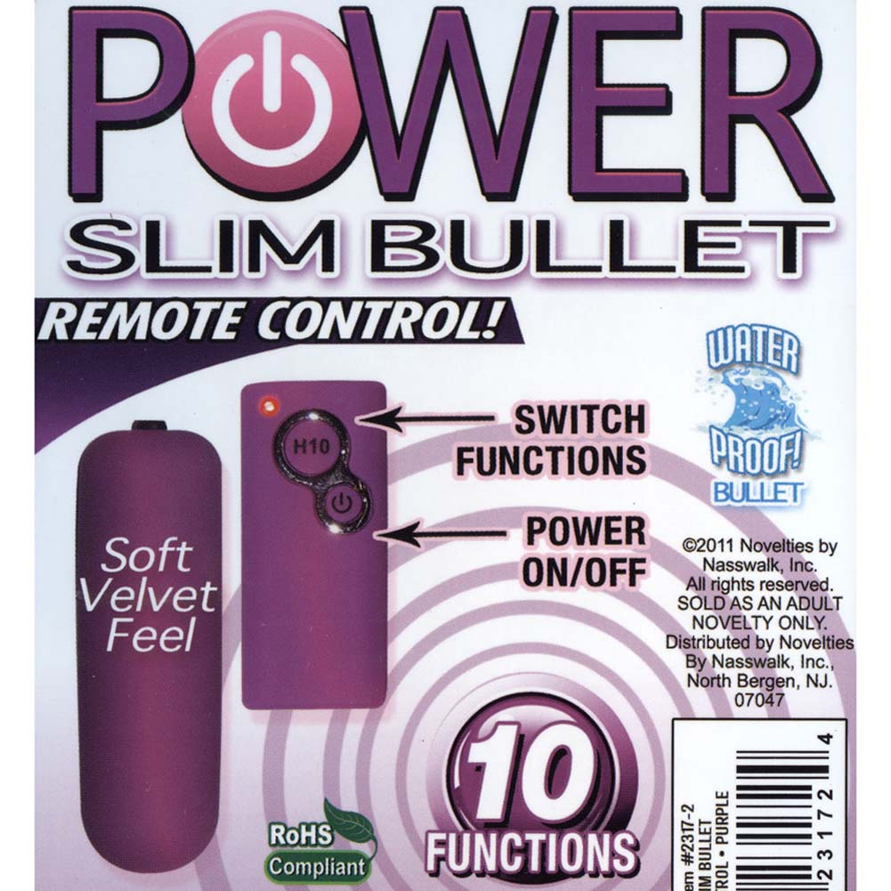 "Power Slim Bullet with 10 Function Wireless Remote 2.5"" Purple - View #3"