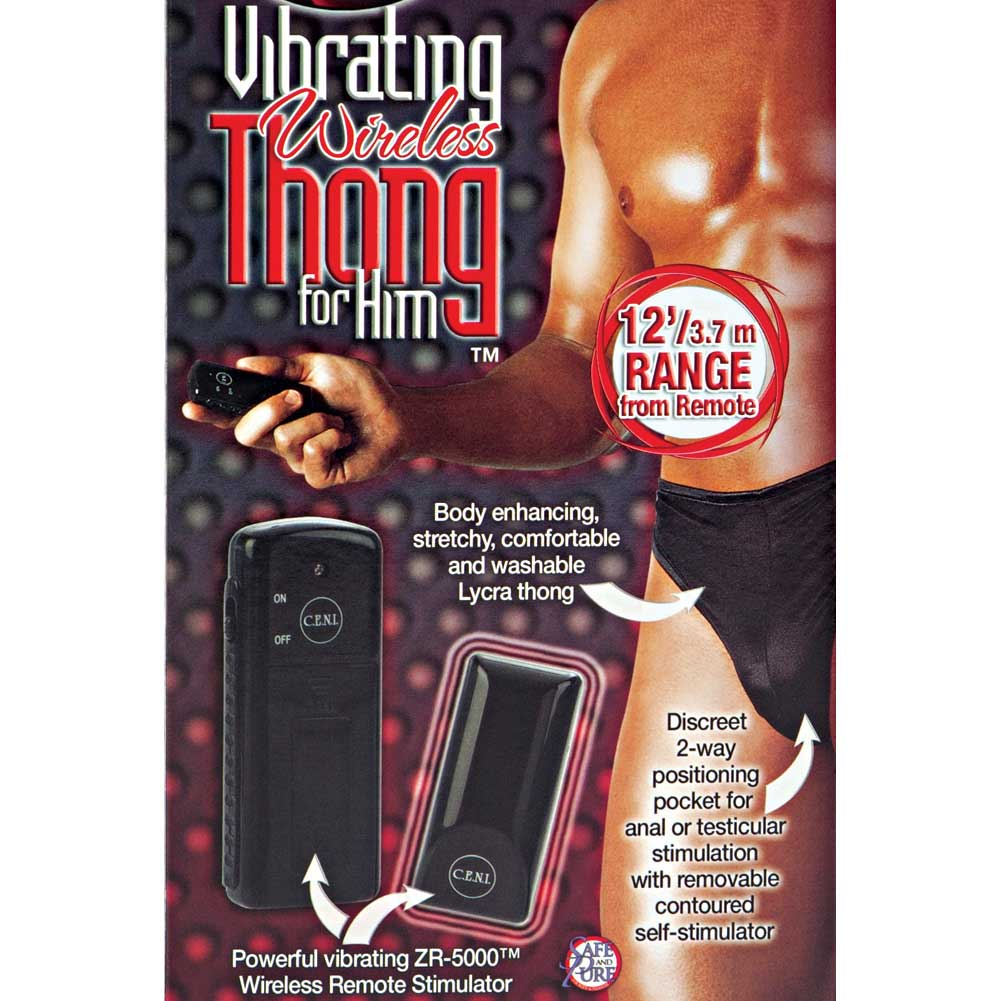 California Exotics Remote Control Vibrating Wireless Thong for Him One Size Black - View #1