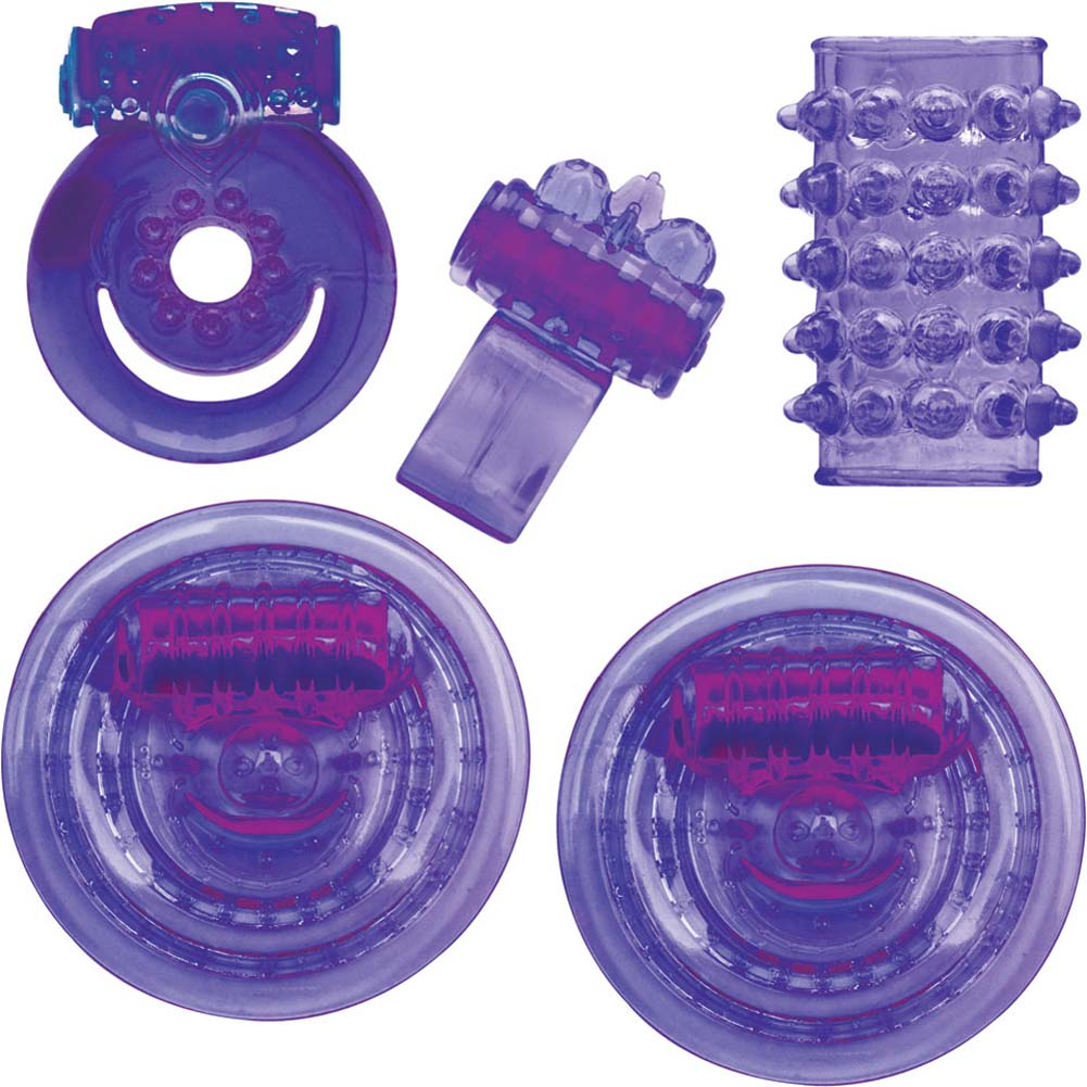 Climax Couples Kit with Finger Vibe and Cockring Neon Purple - View #1