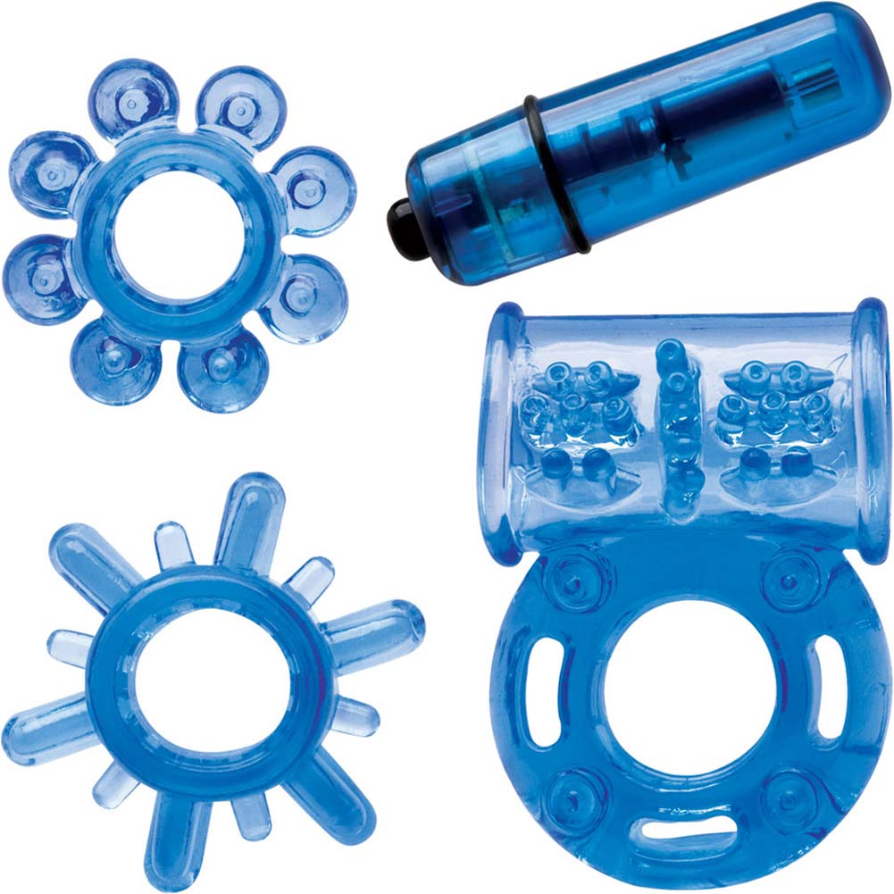 Climax Couples Kit with Vibrating Cockring Neon Blue - View #2