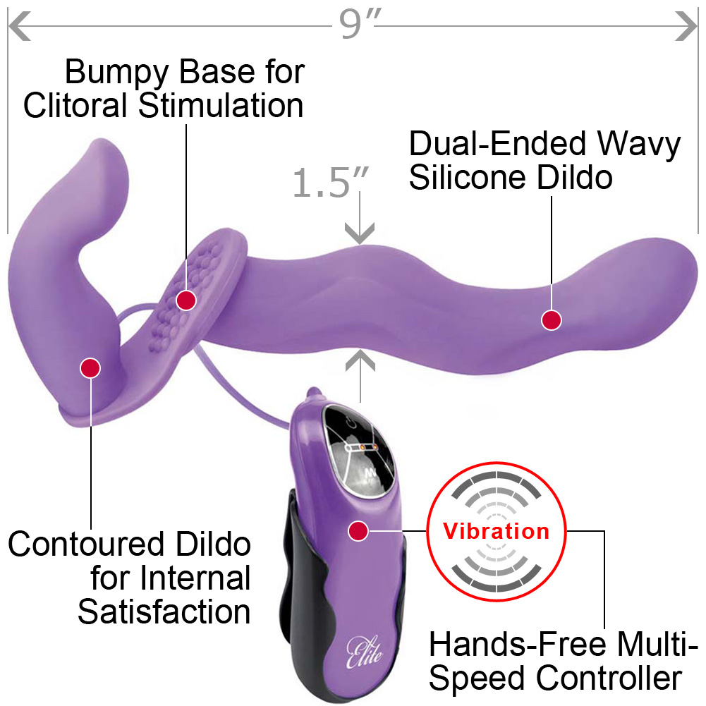 "Fetish Fantasy Elite Vibrating Dual Penetrix Dildo 7"" Purple - View #1"