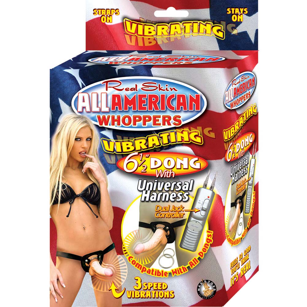 "All American Whoppers Universal Harness with 6.5"" Vibrating Dong Natural - View #4"