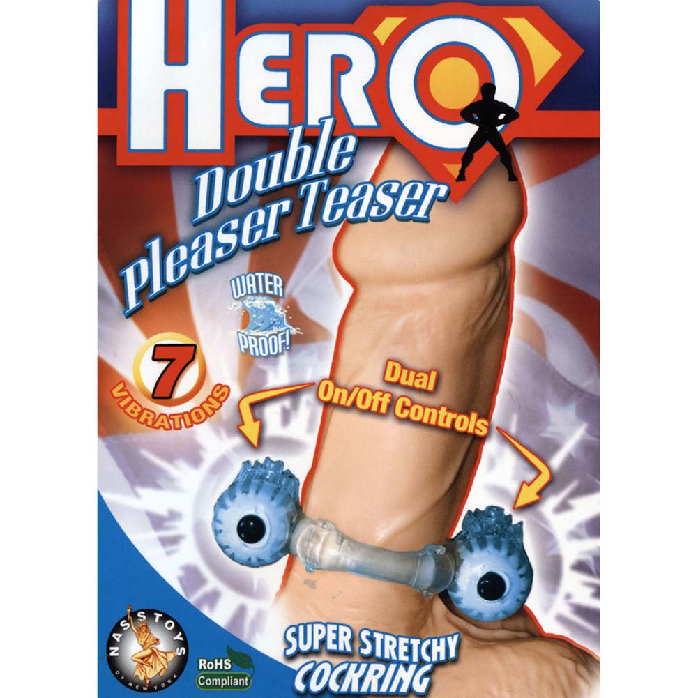 Hero Double Pleaser Teaser Waterproof Jelly Cockring Blue - View #1