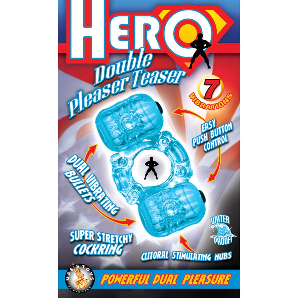 Hero Double Pleaser Teaser Waterproof Jelly Cockring Blue - View #3