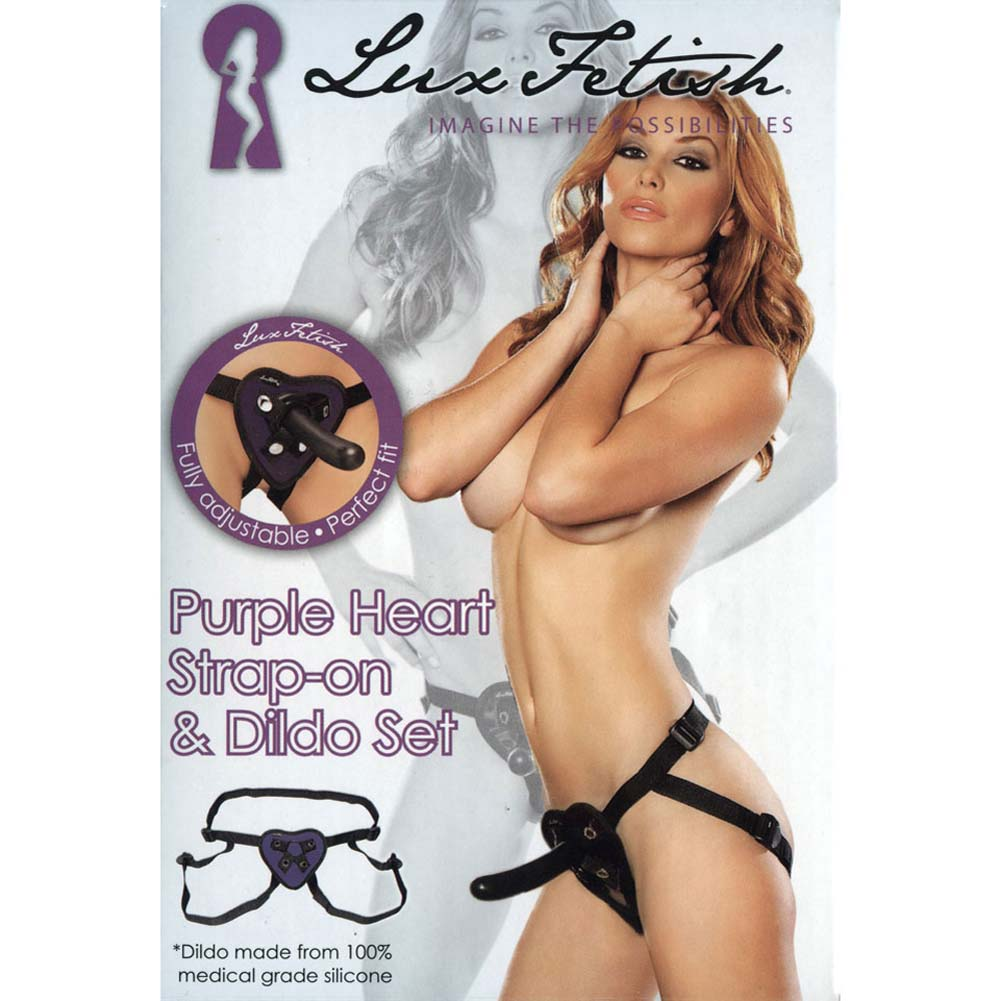 Lux Fetish Purple Heart Strap-On and Silicone Dildo Set - View #2