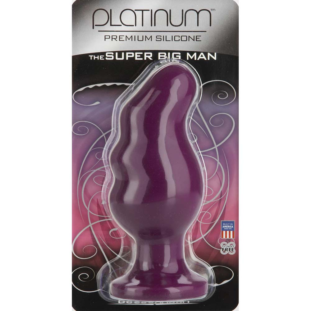 "Platinum Silicone Super Big Man Butt Plug 6.25"" Purple - View #1"