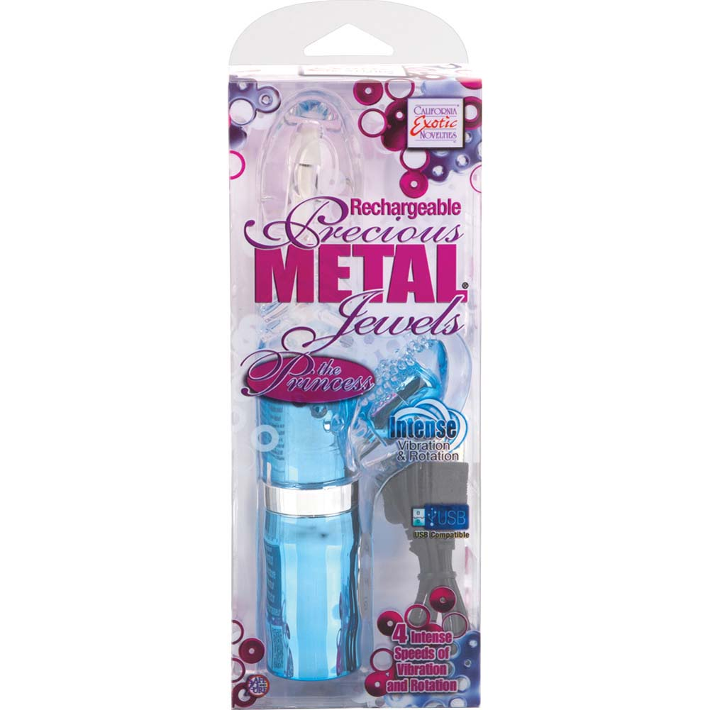 "Rechargeable Precious Metal Jewels the Princess Vibrator 8.25"" Blue - View #4"