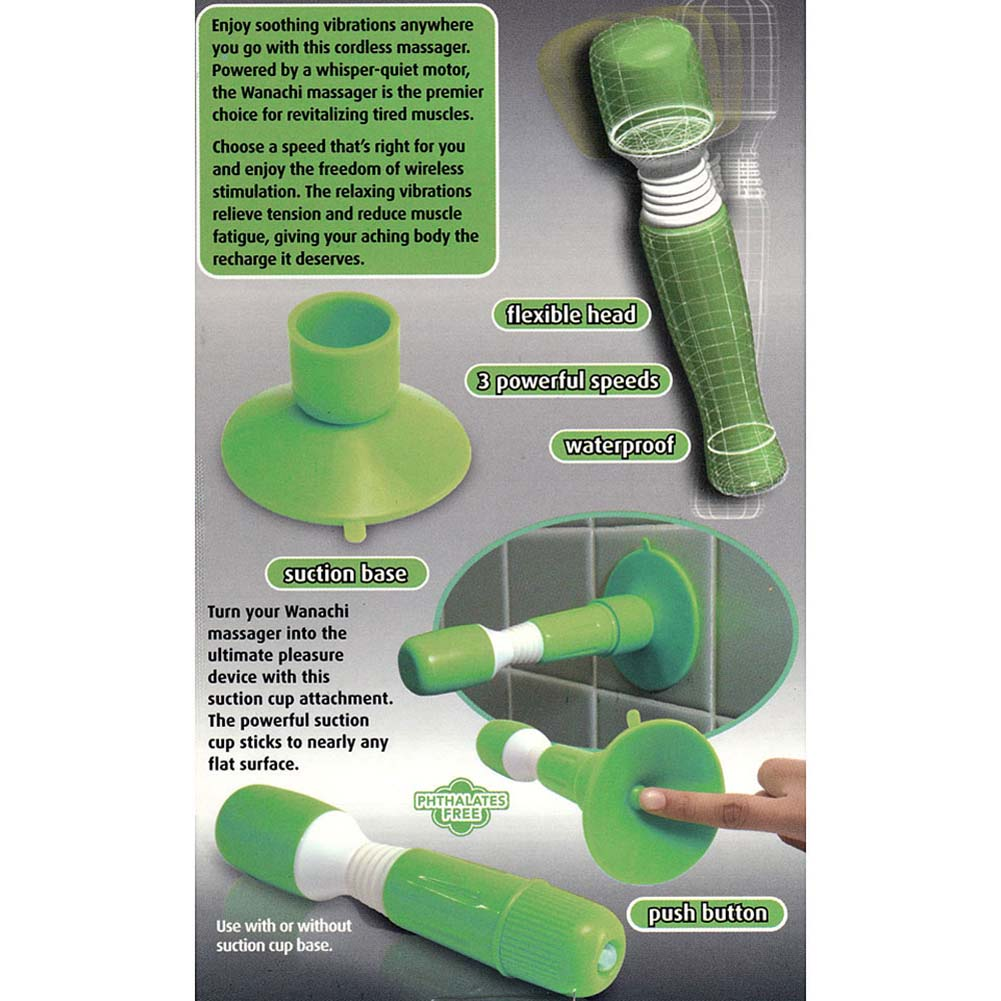 "Suction Cup Wanachi Vibrating Silicone Massager 7"" Green - View #2"