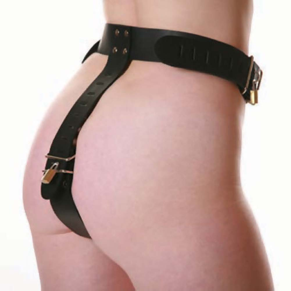 Female Leather Chastity Belt 1 Lock Black - View #2