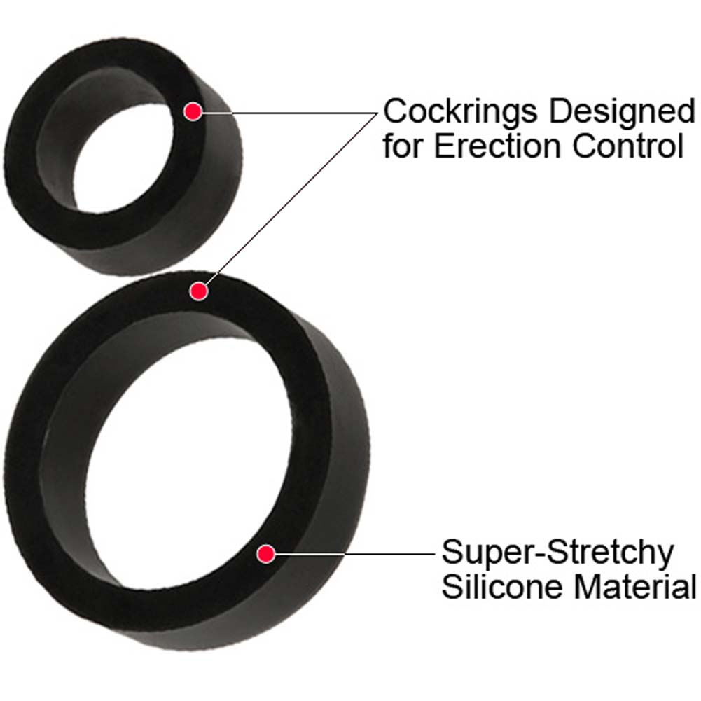 James Deen Signature Silicone Cock Ring Set Black - View #1
