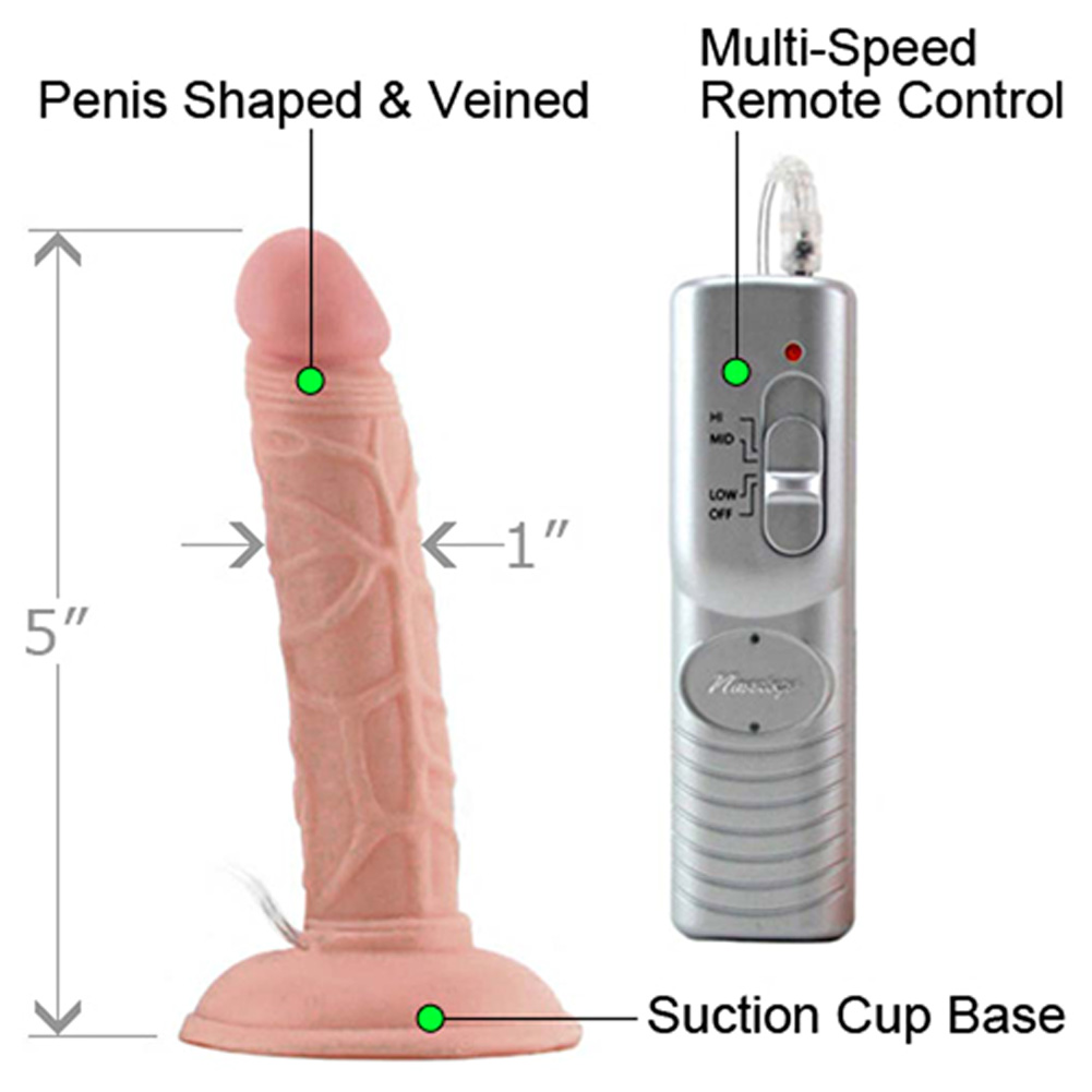 """RealSkin All American Mini Whoppers Vibrating Dong 4"""" Natural - View #1"""
