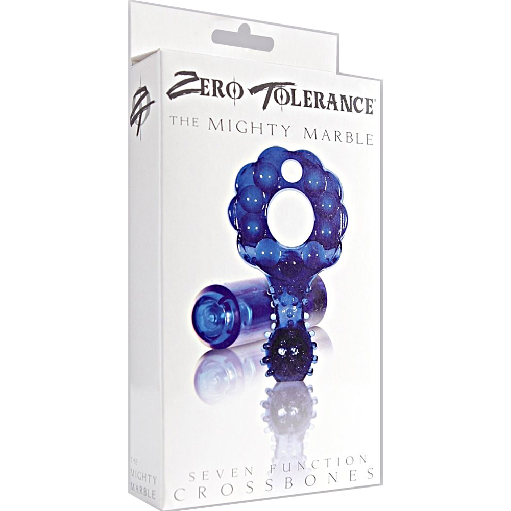 Crossbones Mighty Marble Vibrating Bullet Cockring Blue - View #4