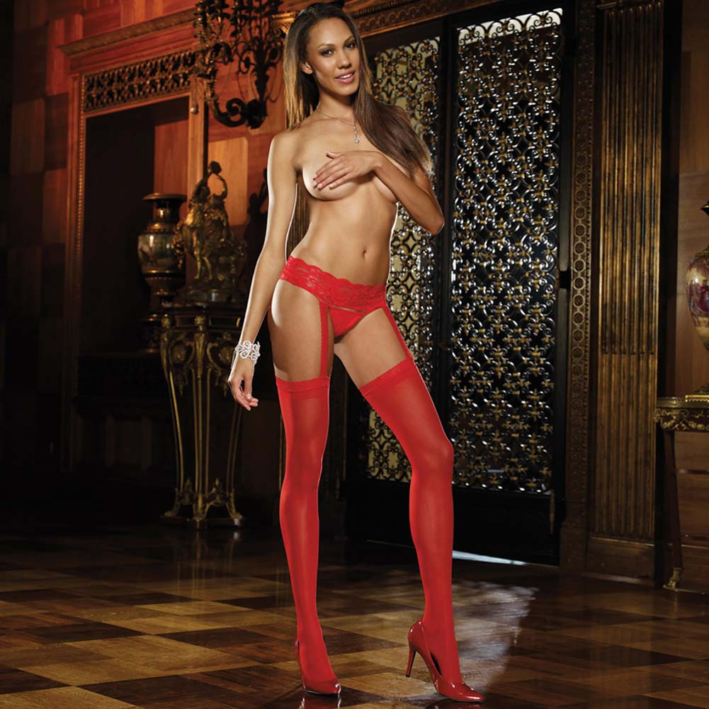Verona Sheer Garter Belt Pantyhose Red - View #1