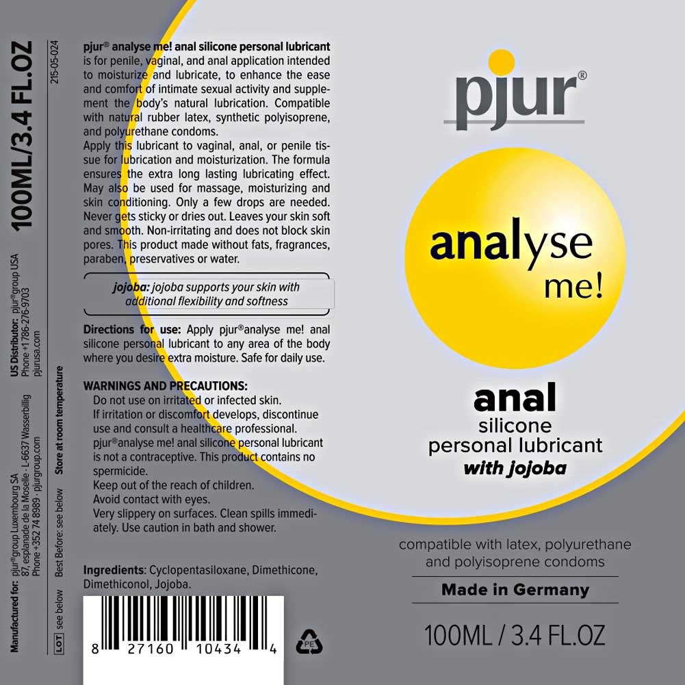 Pjur Analyse Me Relaxing Anal Glide Silicone Based Lube 3.4 Fl.Oz 100 mL - View #3