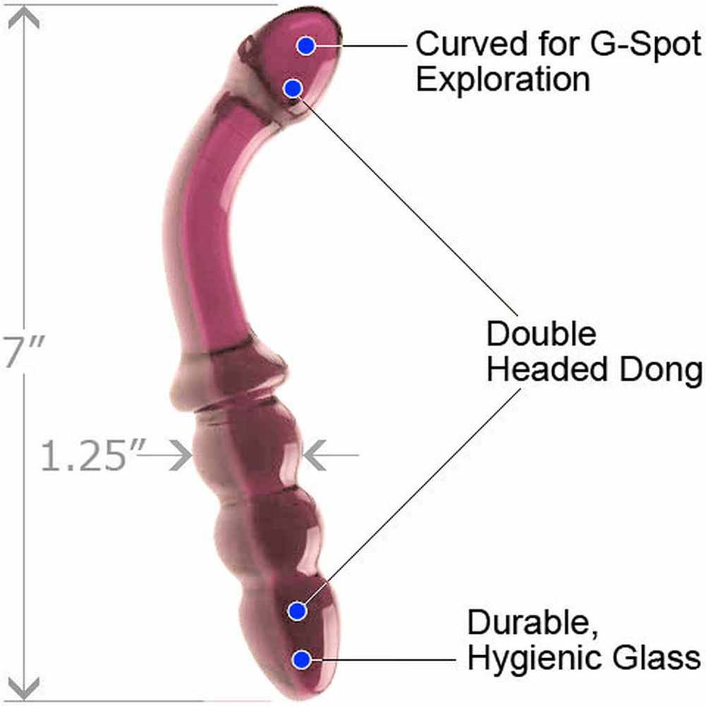 "Don Wands Glass Indulgence Bent G Dream Dildo 7"" Pink - View #1"