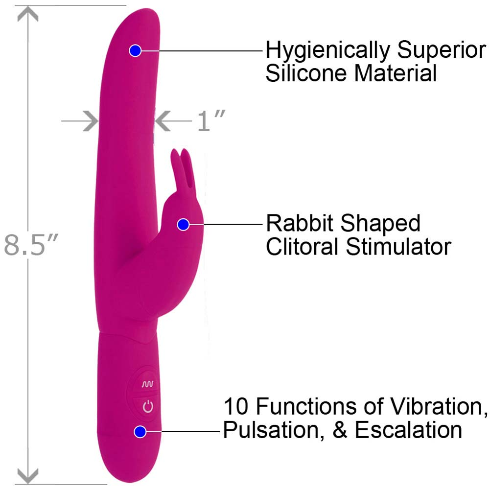 "California Exotics Posh 10 Function Silicone Bounding Bunny Vibrator 8.5"" Pink - View #1"