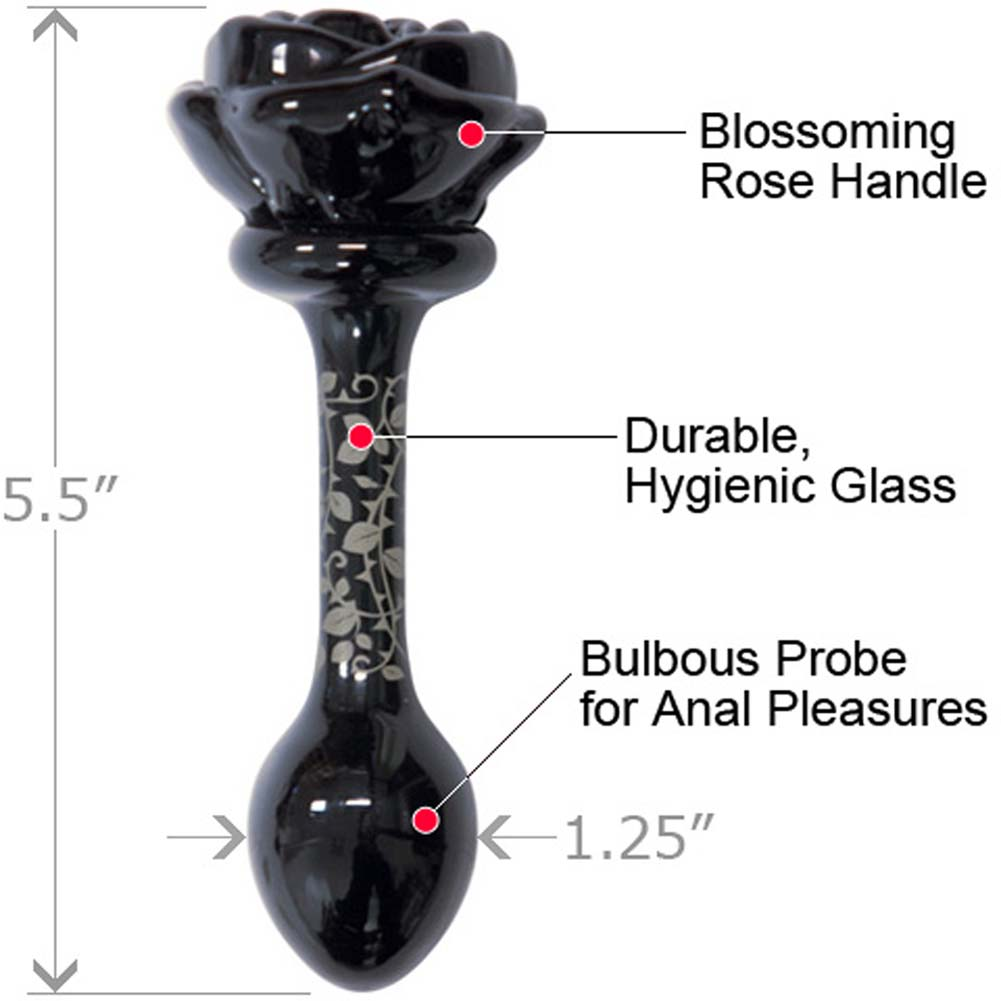 "Fashionistas Glass Rose Small Butt Plug 5.5"" Black. - View #1"