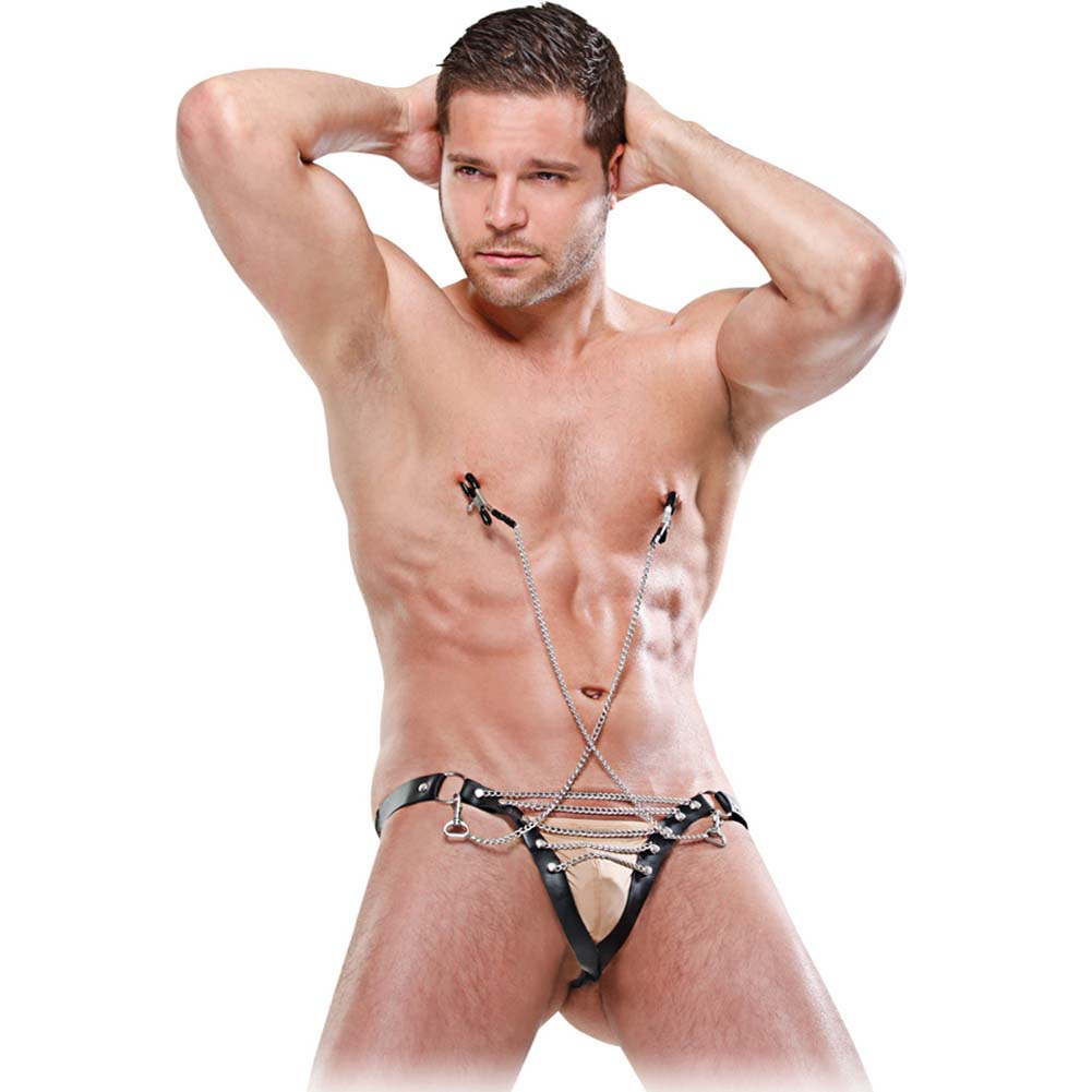 Fetish Fantasy Lingerie Male Chain Gang Thong and Nipple Clamps Set Small/Medium Black - View #1