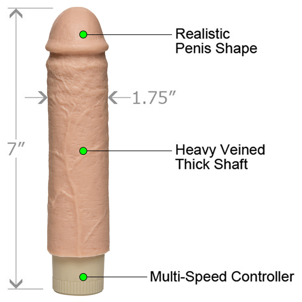"Hard Throb Realistic Vibrating Cock 7"" Natural - View #1"