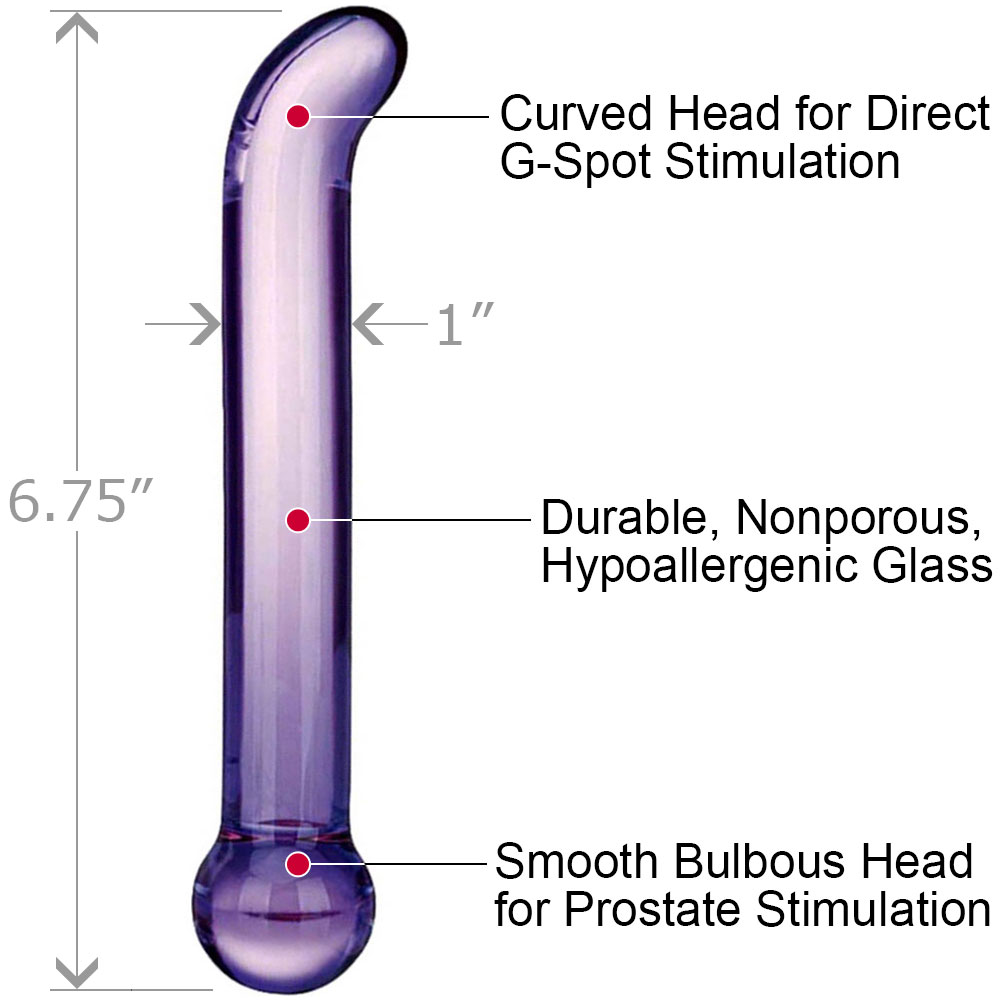 "Glas Purple G-Spot Tickler Glass Dildo 6.75"" Purple - View #1"