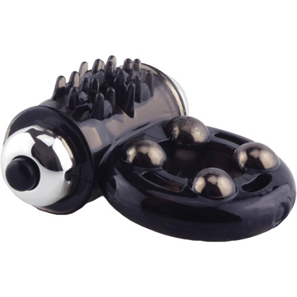 Screaming O Man Arouse Vibrating Silicone Cockring Black - View #4