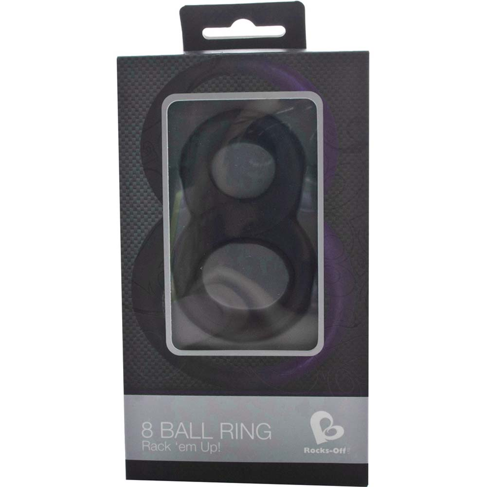 Rocks-Off 8 Ball Silicone Cockring Black - View #4