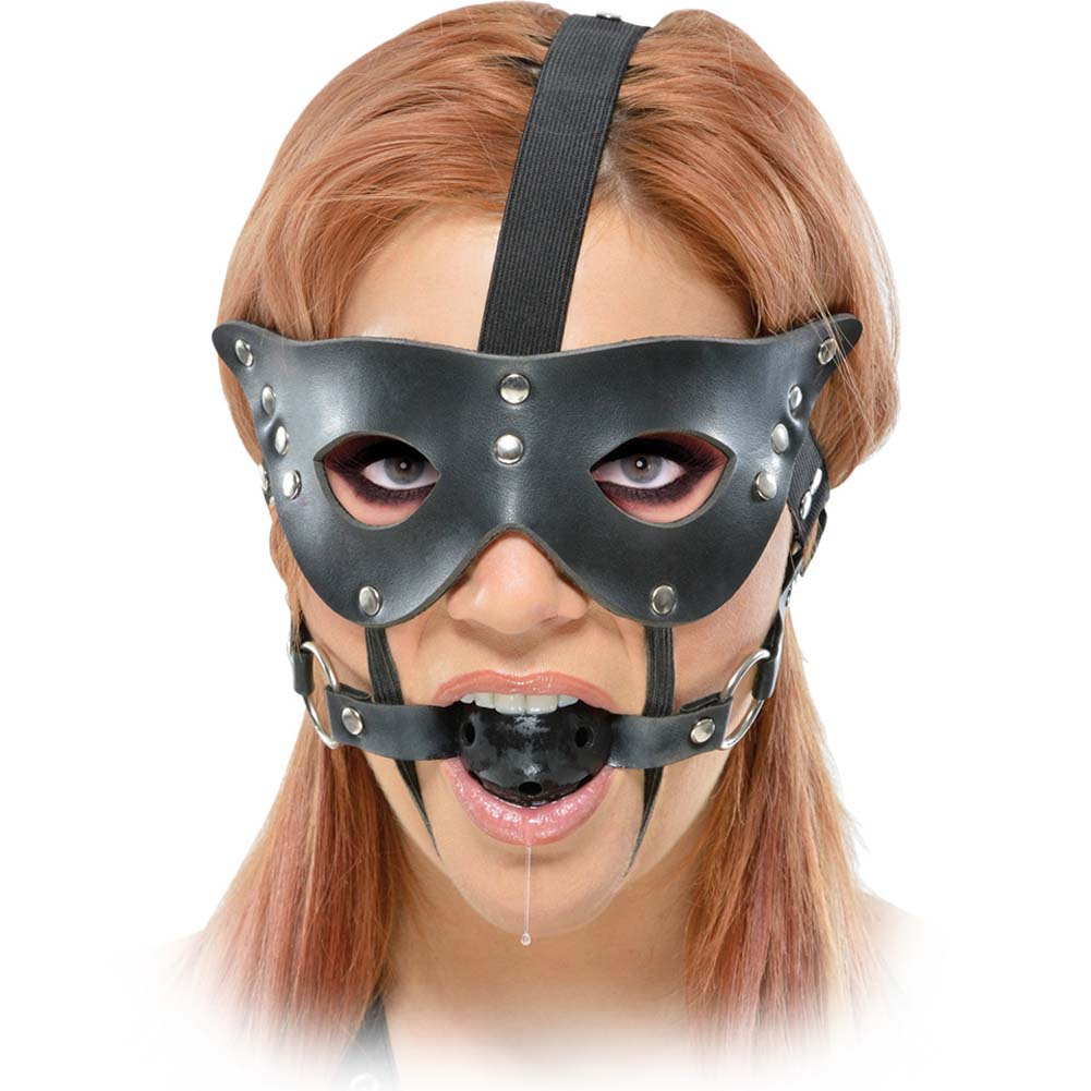Fetish Fantasy Series Masquerade Mask and Ball Gag Black - View #1