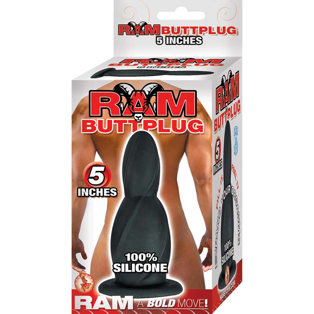 "Ram Silicone Butt Plug with Suction Cup Base 5"" Black - View #1"