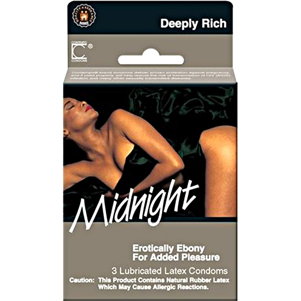 Midnight Desire Lubricated Latex Condoms Classic Black Pack of 3 - View #1