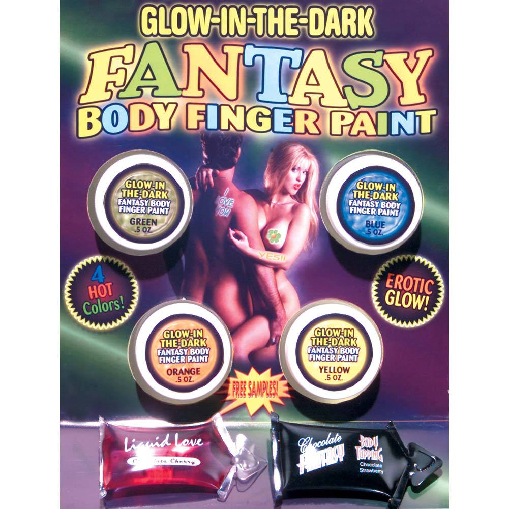 Glow-In-The-Dark Fantasy Body Finger Paint 4 Colors - View #1