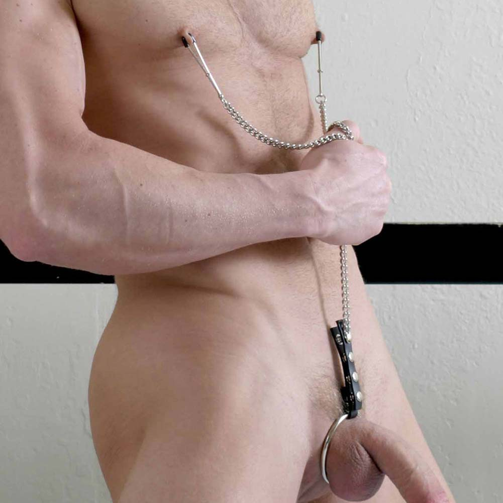 Spartacus Y-Style Adjustable Tweezer Nipple Clamps with Cock Ring - View #2