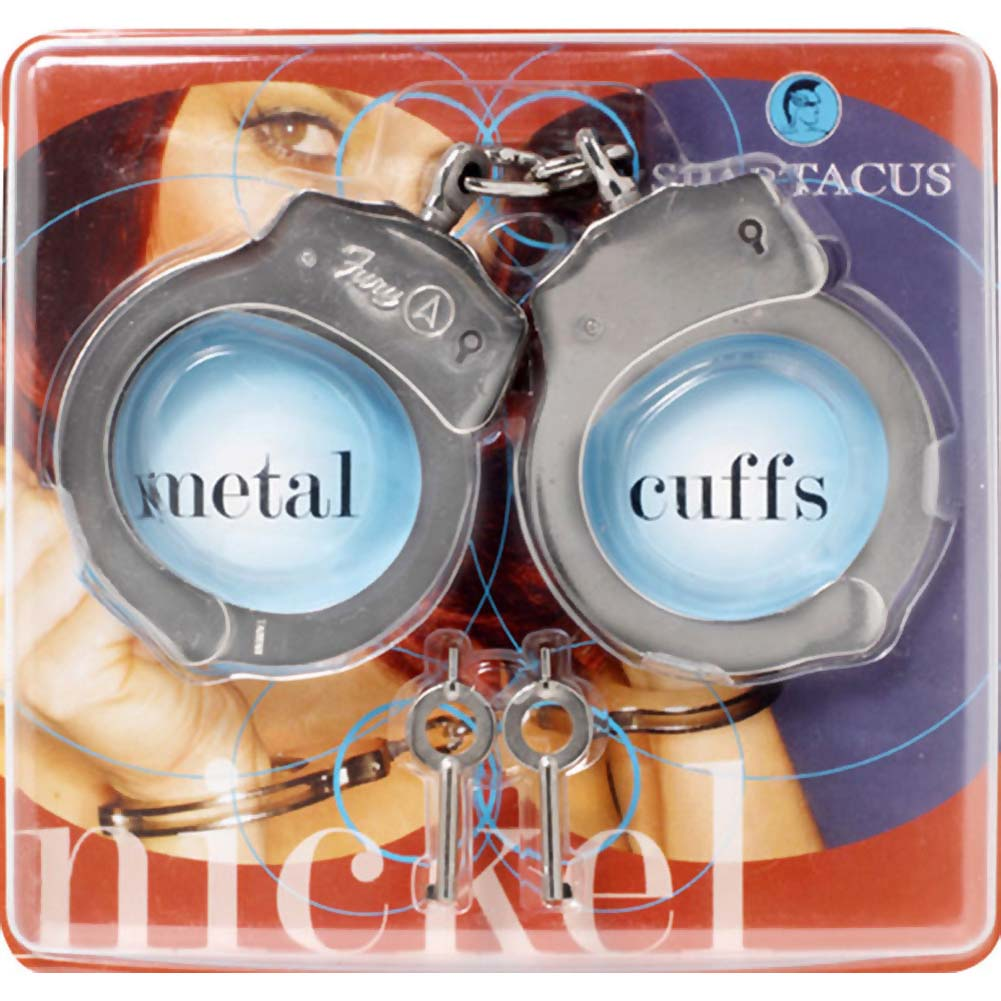 Spartacus Nickel Coated Steel Double Lock Handcuffs Silver - View #2