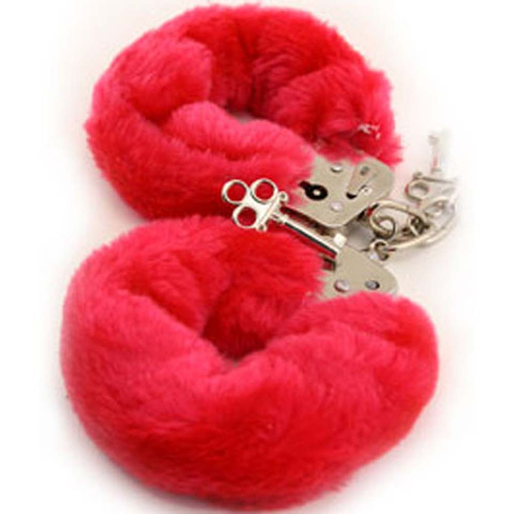 Faux Fur Love Cuffs for Intimate Lovers Plush Red - View #2