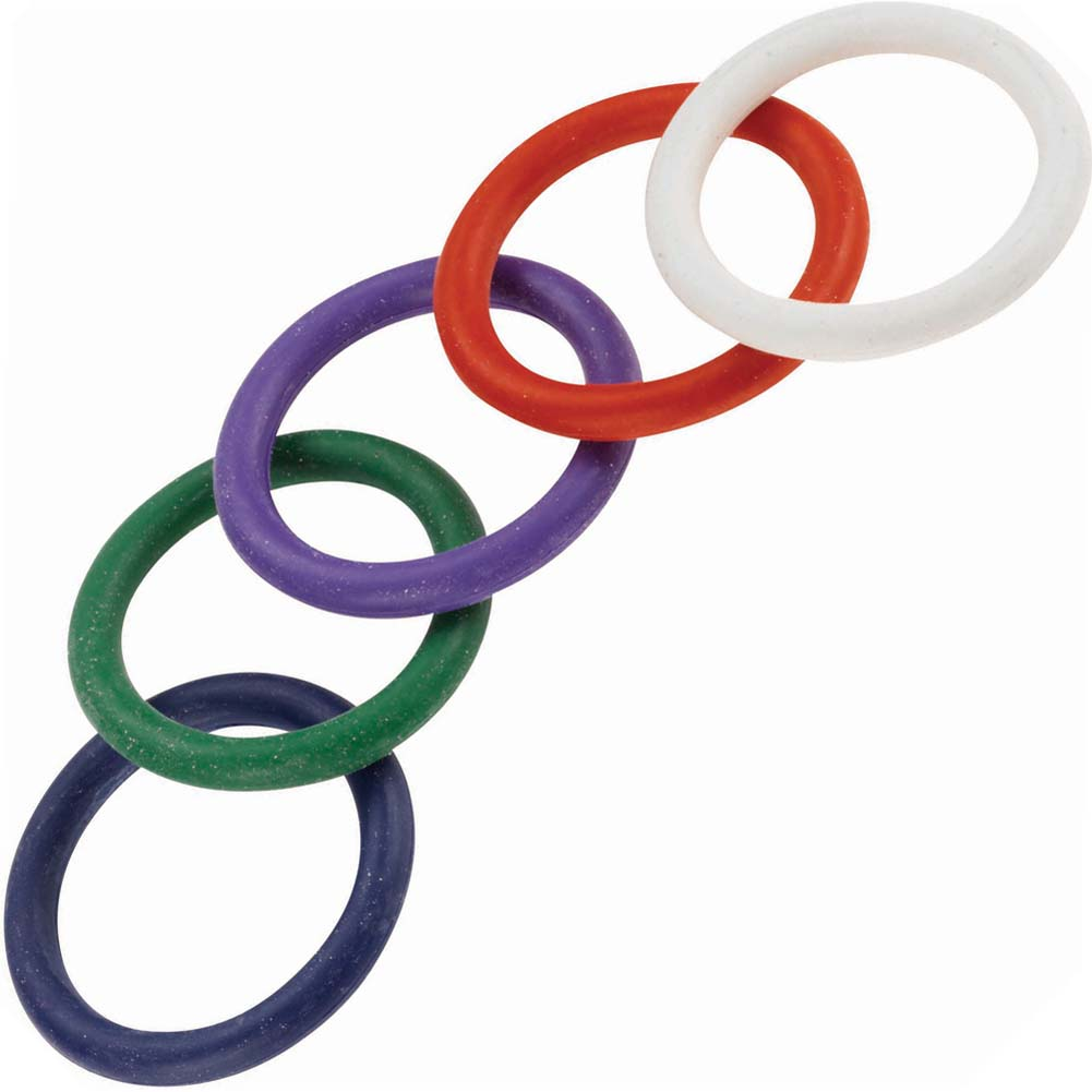 "Spartacus Rainbow Rubber Cock Ring 5 Pack 1.25"" - View #2"
