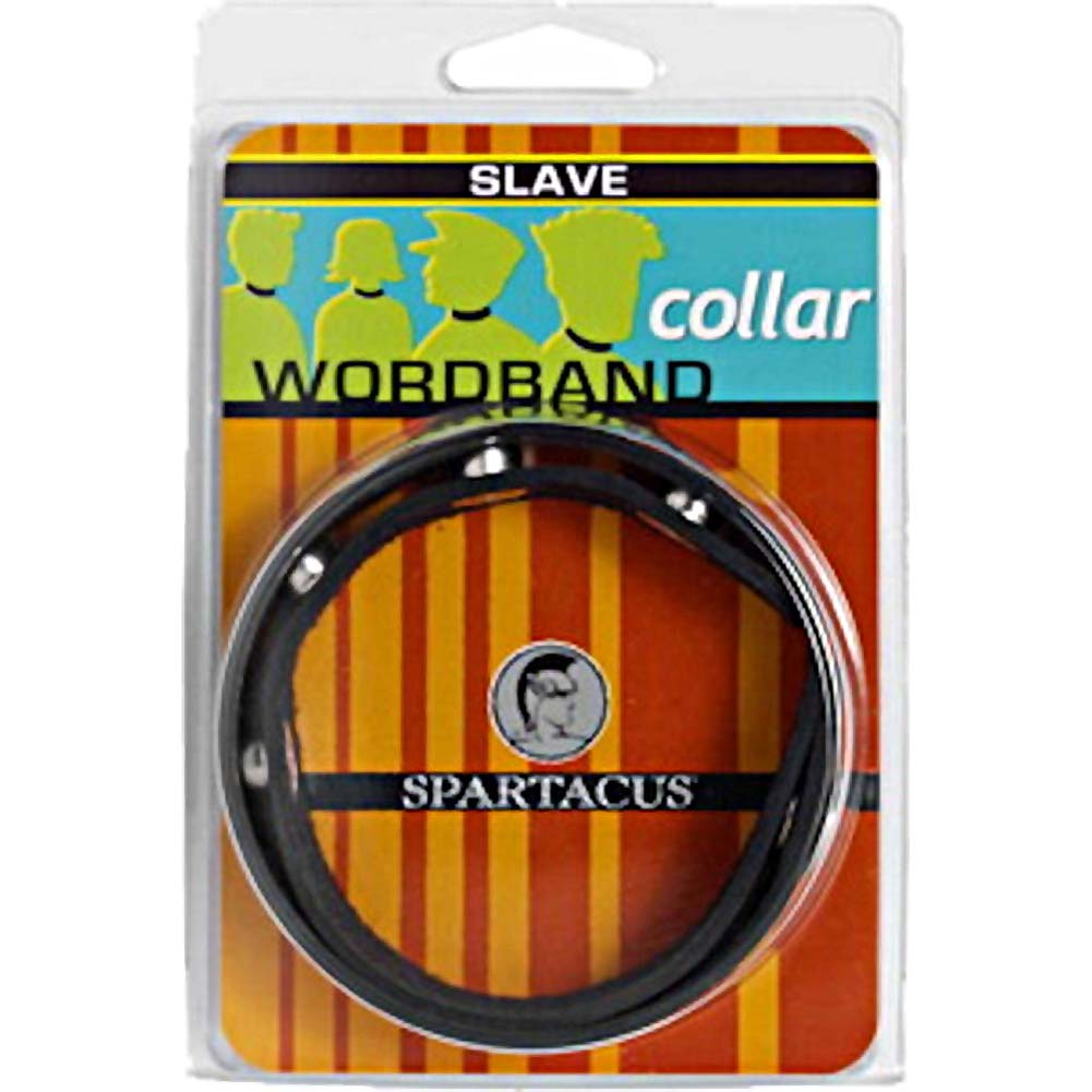 Spartacus SLAVE Wordband Adjustable Leather Collar Black - View #1