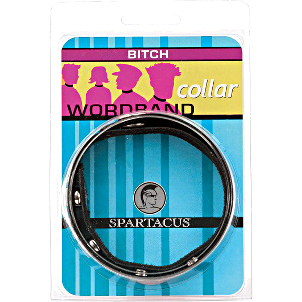BITCH Wordband Adjustable Leather Collar Black - View #1