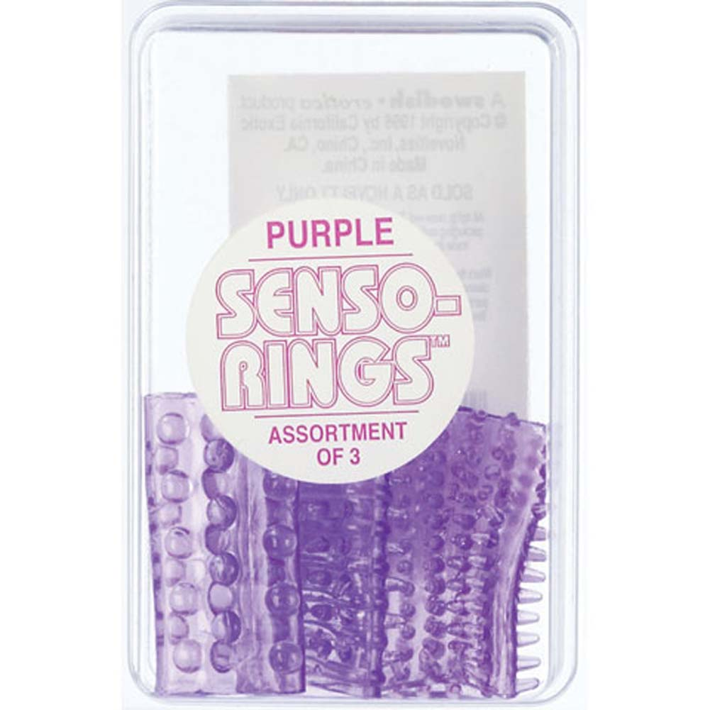 CalExotics Senso Rings Stretchy Cockrings 3 Pack Purple - View #1