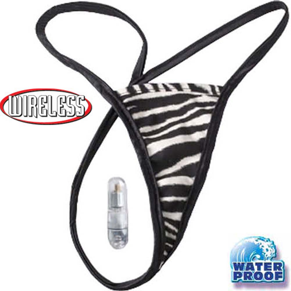 Wild Exotics Waterproof Wireless Vibrating Zebra Panties - View #1